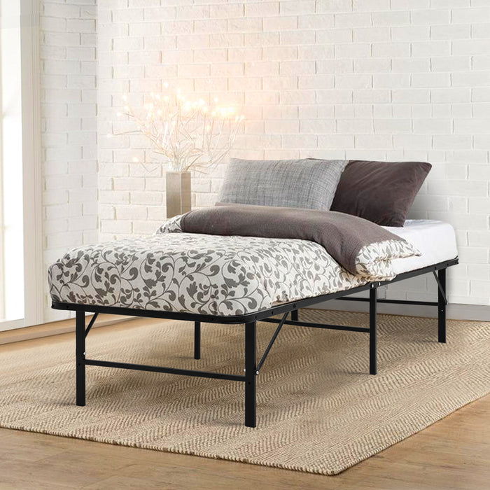 Artiss Foldable Single Metal Bed Frame - Black