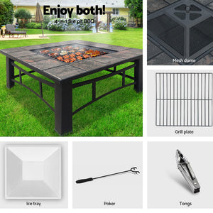 Outdoor Fire Pit BBQ Table Grill Fireplace Ice Bucket w/ Table Lid - (Not available in QLD, TAS, WA & NT)