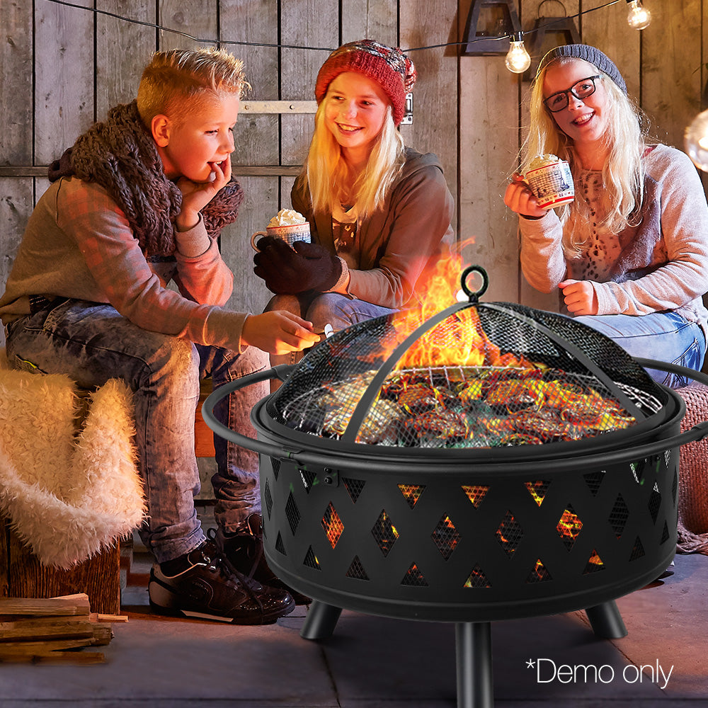 32 Inch Portable Outdoor Fire Pit and BBQ - Black