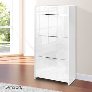 24 Pair High Gloss Wooden Shoe Cabinet  - White -  - (excl-Regional QLD & WA, Far Nth Qld, NT & WA Remote)