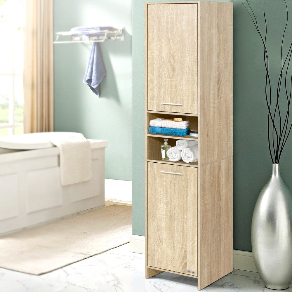 Artiss 185cm Bathroom Cabinet Tallboy Furniture Toilet Storage Laundry Cupboard Oak