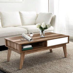 Artiss Coffee Table 2 Storage Drawers Open Shelf Scandinavian Wooden White  (Not available in NT or any remote/regional areas)