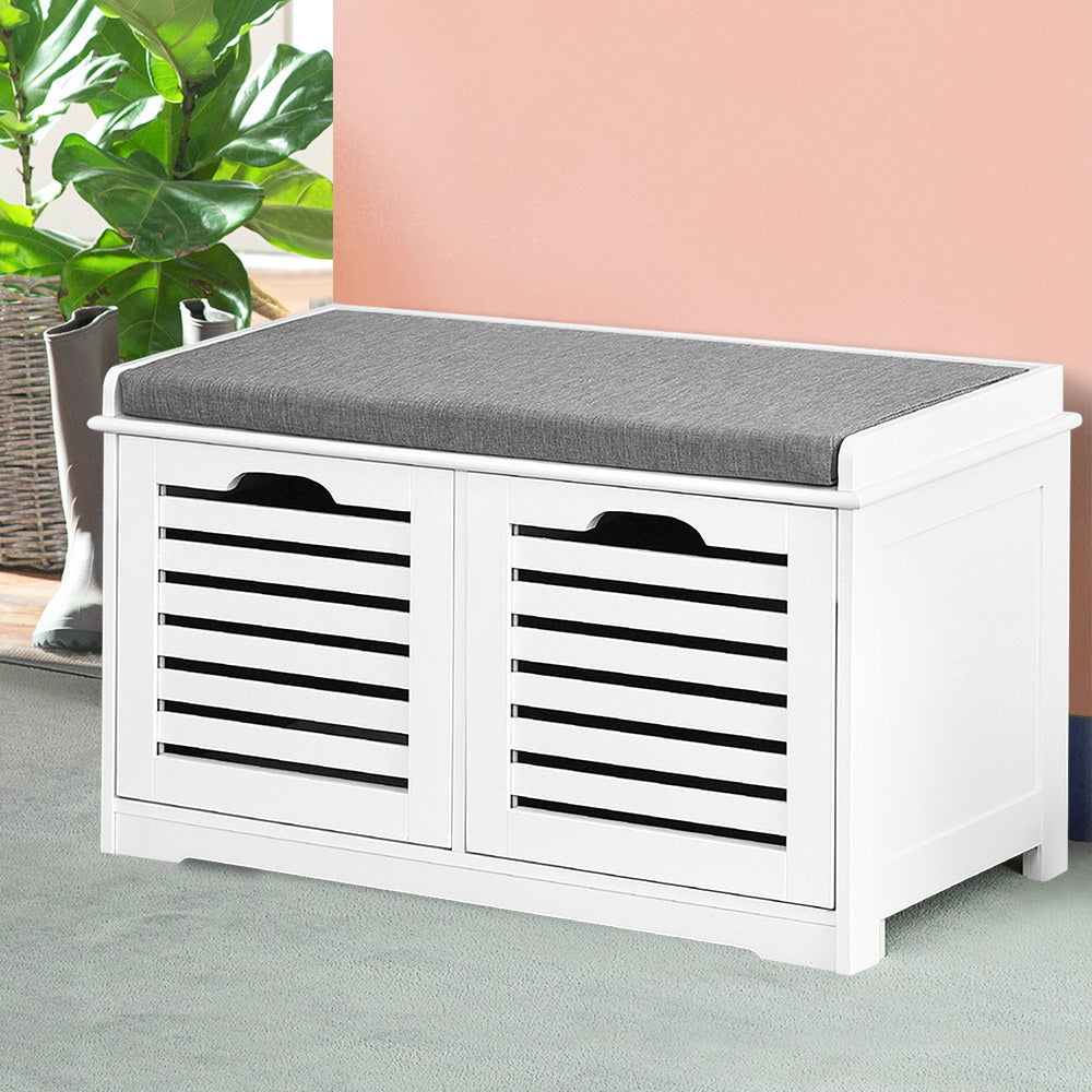 Fabric Shoe Bench with Drawers White and Grey