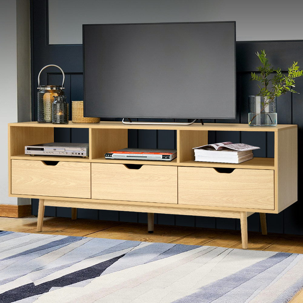 Wooden Scandinavian Entertainment Unit - Natural