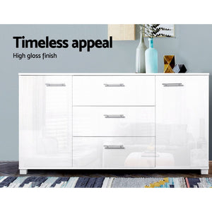 High Gloss Sideboard Storage Cabinet Cupboard White (VIC, NSW, ACT & SA only)