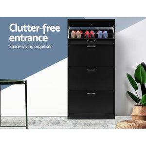 Artiss Shoe Cabinet Shoes Storage Rack Organiser 60 Pairs Black Shelf Drawer