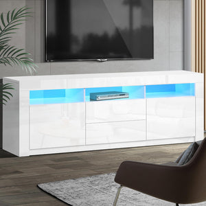 Artiss TV Cabinet Entertainment Unit Stand RGB LED High Gloss Furniture Storage Drawers Shelf 200cm White - (Only available in VIC, NSW, SA & ACT)