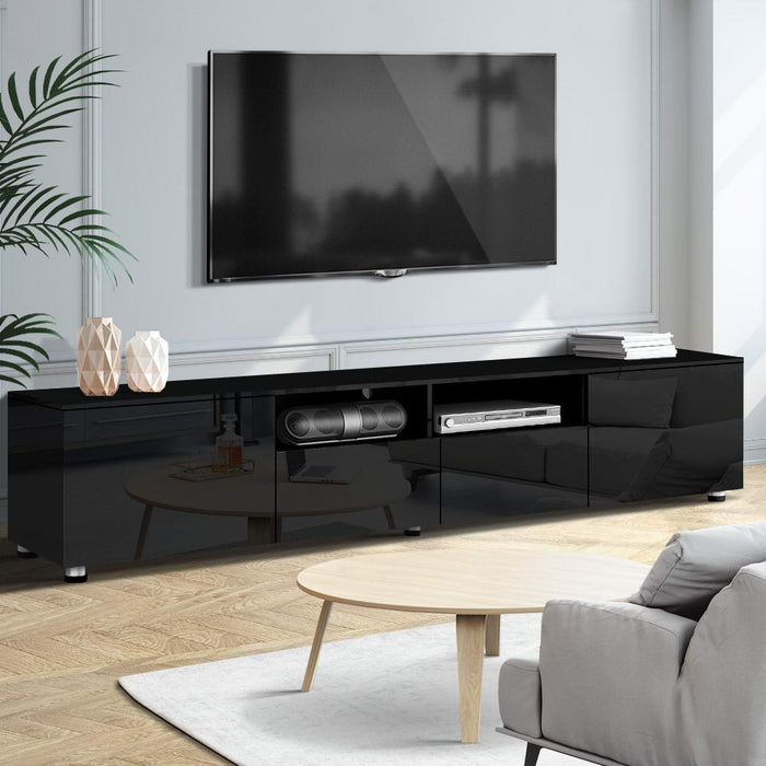 Artiss TV Cabinet Entertainment Unit Stand High Gloss Furniture 205cm Black - (Only available in VIC, NSW, SA & ACT)