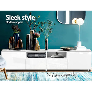 Artiss TV Cabinet Entertainment Unit Stand High Gloss Furniture 205cm White - (Only available in VIC, NSW, SA & ACT)