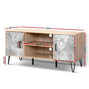 Artiss TV Cabinet Entertainment Unit Stand Industrial Wooden Metal Legs Oak  - (Only available in VIC, NSW, SA & ACT)