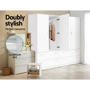 Artiss 2 Doors Wardrobe Bedroom Closet Storage Cabinet Organiser Armoire 180cm White