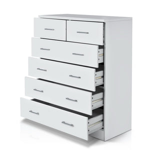 6 Drawer Tallboy Bedroom Storage White
