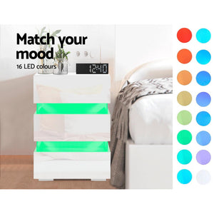 Artiss Bedside Table Side Unit RGB LED Lamp 3 Drawers Nightstand Gloss Furniture White
