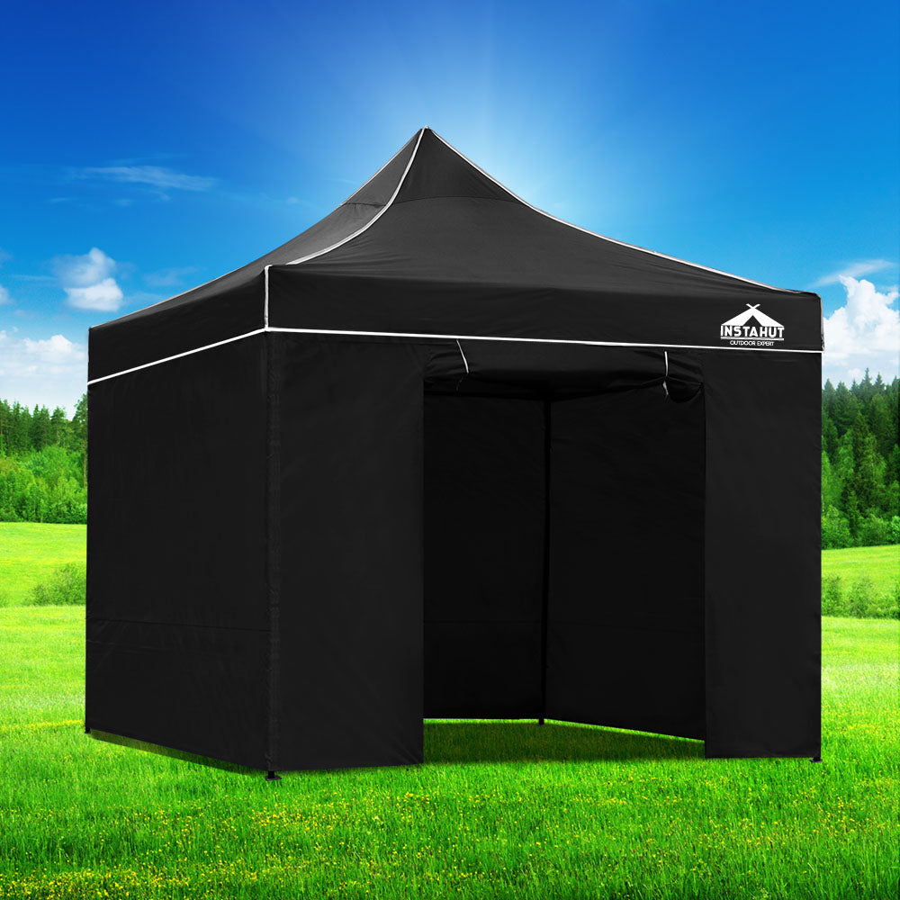 3x3 Pop Up Gazebo Hut with Sandbags Black