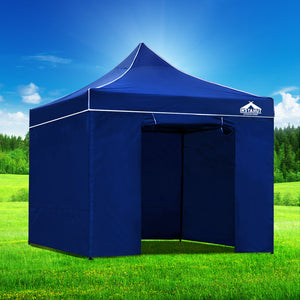 Instahut Gazebo Pop Up Marquee 3x3m Folding Wedding Tent Gazebos Shade Blue