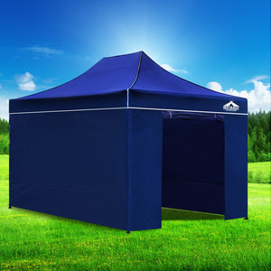 3x4.5 Pop Up Gazebo Hut with Sandbags Blue