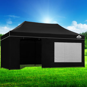 3x6 Pop Up Gazebo Hut with Sandbags Black
