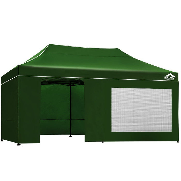 3x6 Pop Up Gazebo Hut with Sandbags Green