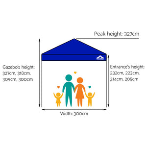 3x3M Outdoor Gazebo - Blue