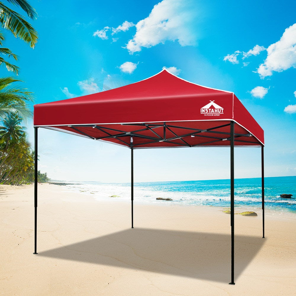 Instahut Gazebo Pop Up Marquee 3x3m Outdoor Tent Folding Wedding Gazebos Red