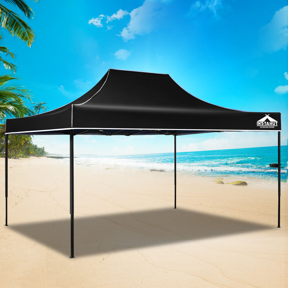 3m x 4.5m Pop-up Garden Outdoor Gazebo Black - (Not available in FNQ, WA & NT)