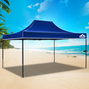 Instahut Gazebo Pop Up Marquee 3x4.5m Outdoor Tent Folding Wedding Gazebos Blue - (Not available in NT or any remote/regional areas)