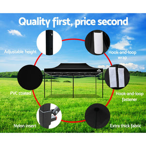 Instahut Gazebo Pop Up Marquee 3x6m Outdoor Tent Folding Wedding Gazebos Black - (Not available in TAS, WA & NT or any remote/regional areas)