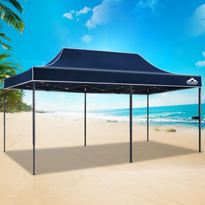 Instahut Gazebo Pop Up Marquee 3x6m Outdoor Tent Folding Wedding Gazebos Navy - (Not available in QLD, TAS, WA & NT)
