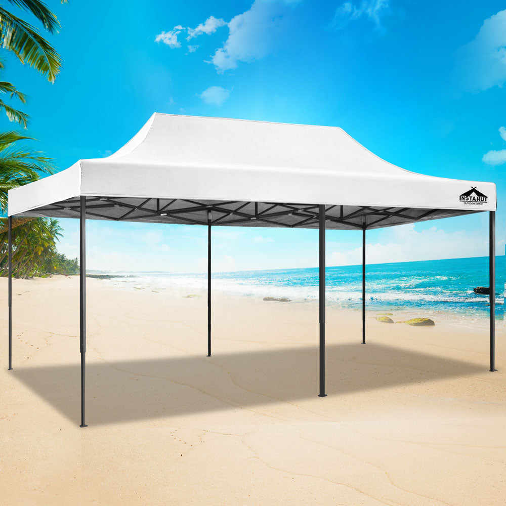 Instahut Gazebo Pop Up Marquee 3x6m Outdoor Tent Folding Wedding Gazebos White - (Not available in QLD, TAS, WA & NT)