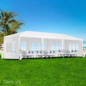 Instahut Gazebo 3x9m Outdoor Marquee side Wall Gazebos Tent Canopy Camping White 5 Panel