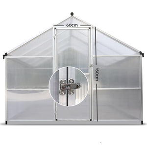 3.02 x 2.5M Polycarbonate Aluminium Green House - (Not available in QLD, TAS, WA & NT)