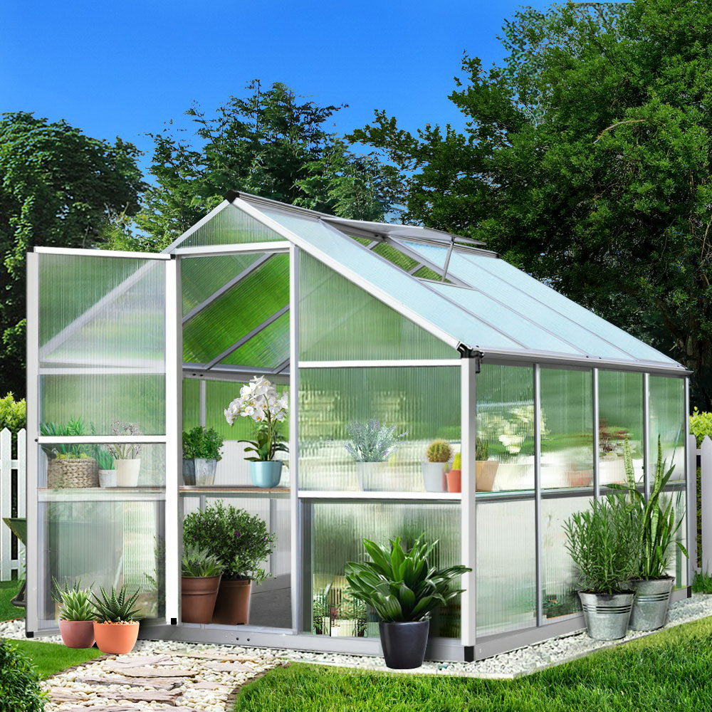 Greenfingers Greenhouse Aluminium Green House Garden Shed Greenhouses 3.02x2.5M - (Not available in QLD, TAS, WA & NT)