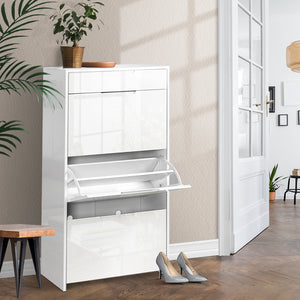 24 Pair High Gloss Wooden Shoe Cabinet  - White - (Not available in NT or any remote/regional areas)