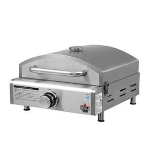Grillz Portable Gas Oven Camping Cooking LPG Grill Pizza Stove Stainless Steel (excl-Regional QLD & WA, Far Nth QLD, NT & WA Remote)