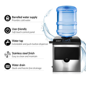 DEVANTi 2 in 1 Portable Commercial Ice Cube Maker Machine Water Dispenser