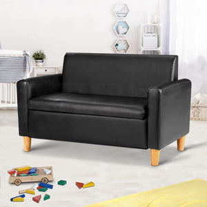 Keezi Storage Kids Sofa Children lounge Chair Couch PU Leather Padded Black