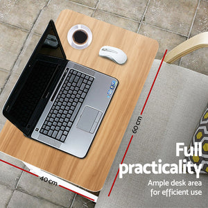 Mobile Laptop Desk Light Wood
