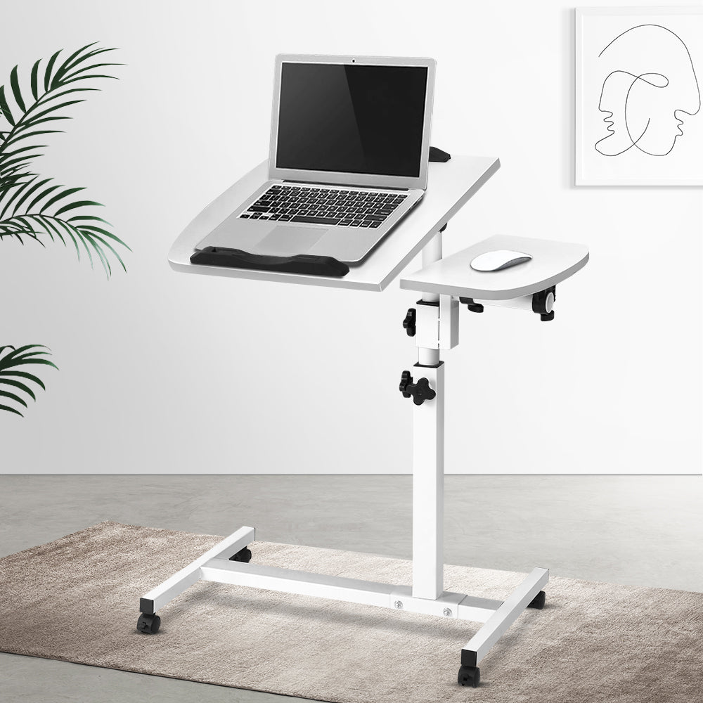 Rotating Mobile Laptop Adjustable Desk w/ USB Cooler White - (excl-Regional QLD & WA, Far Nth QLD, NT & WA Remote)