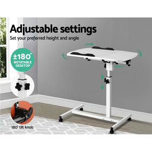 Rotating Mobile Laptop Adjustable Desk White - (excl-Regional QLD & WA, Far Nth QLD, NT & WA Remote)