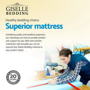 Giselle Bedding KING SINGLE Size Mattress Bed Pocket Spring Foam Bamboo 34CM - (Only available in VIC, NSW, SA & ACT)