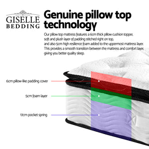 Pillow Top Pocket Spring Mattress Double - (Not available in QLD, TAS, WA & NT)
