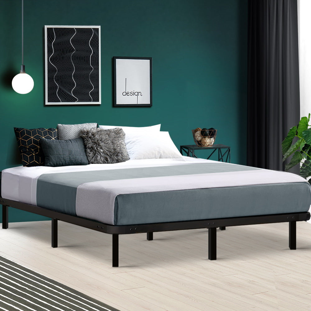 Queen Metal Bed Base Frame Black - (excl-Regional QLD & WA, Far Nth QLD, NT & WA Remote)