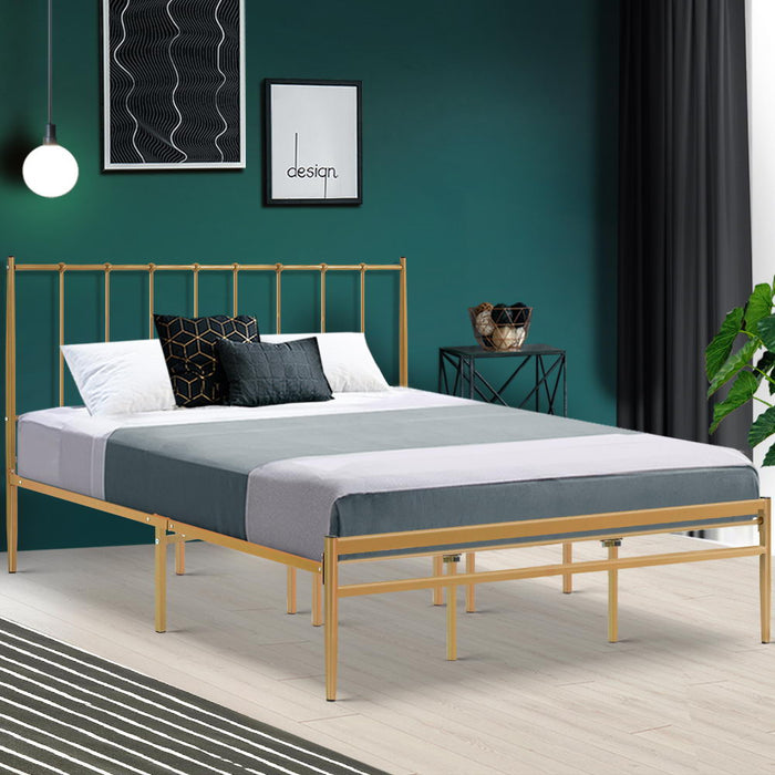 Metal Bed Frame King Size Mattress Base Platform Foundation Gold Amor (Not available in NT or any remote/regional areas)