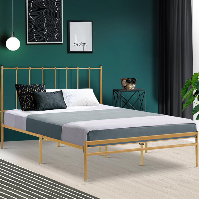 Metal Bed Frame Queen Size Mattress Base Platform Foundation Gold Amor (Not available in NT or any remote/regional areas)