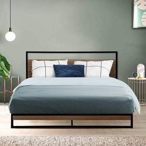 Metal Bed Frame Queen Size Mattress Base Platform Foundation Black Dane (Not available in NT or any remote/regional areas)