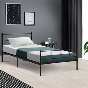 Metal Bed Frame Single Size Platform Foundation Mattress Base SOL Black (Not available in NT or any remote/regional areas)
