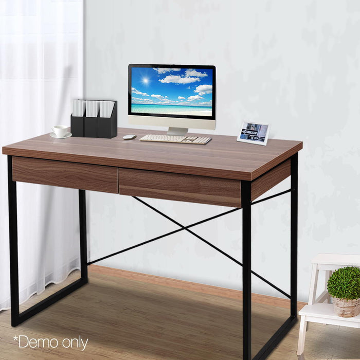 Computer Desk with Drawers Walnut