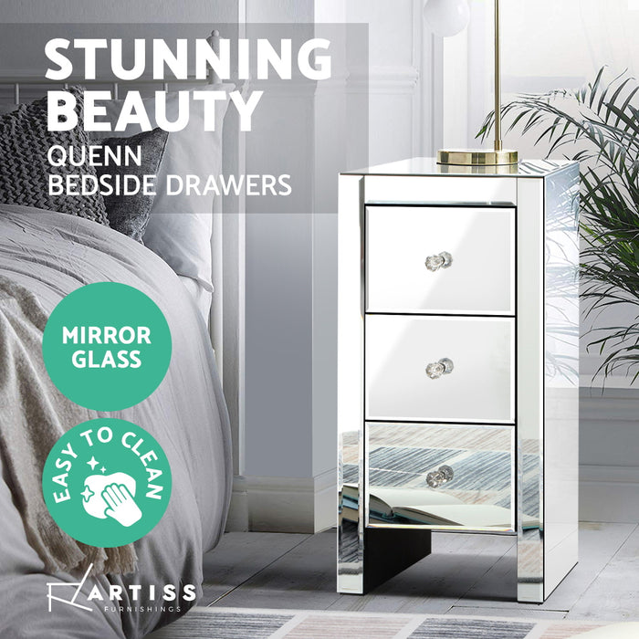 Artiss Mirrored Bedside table Drawers Furniture Mirror Glass Quenn Silver
