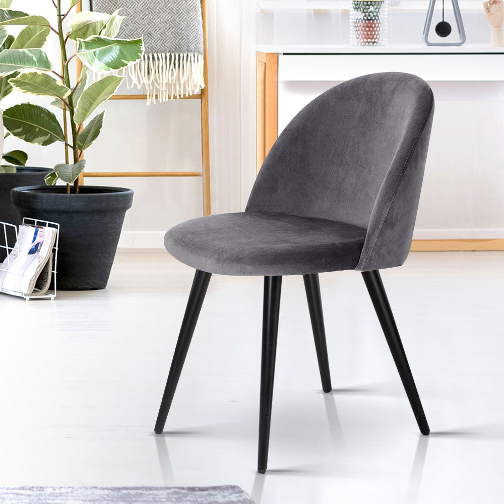 Artiss Velvet Modern Dining Chair - Black