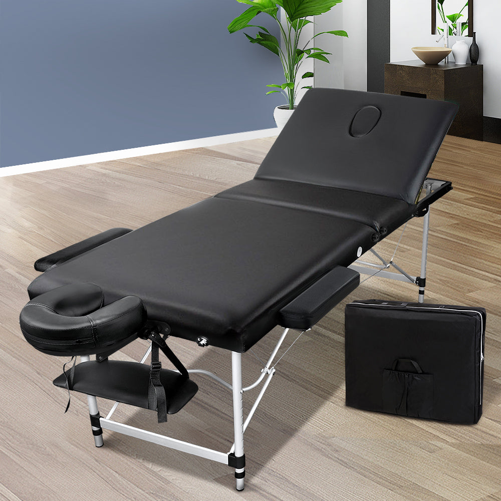Zenses Portable Aluminium 3 Fold Massage Table Chair Bed Black 60cm